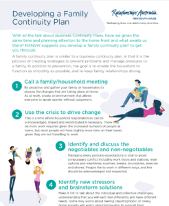 Developing a family continuity plan image. Click on the image to view PDF about developing a family continuity plan